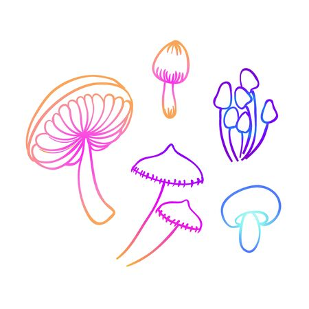 Magic mushrooms. Psychedelic hallucination. Vibrant vector illustration. 60s hippie colorful art in pink pastel goth colors isolated on white. Sticker, patch, poster graphic design. Ilustração