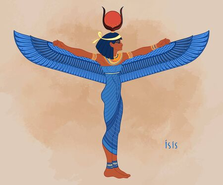 Isis, goddess of life and magic in Egyptian mythology. One of the greatest goddesses of Ancient Egypt, protects women, children, heals sick. Vector illustration over aged background. Winged woman.