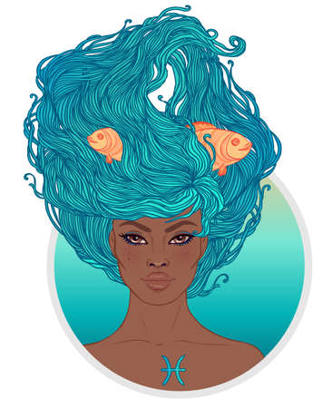 Illustration of Pisces astrological sign as a beautiful African American girl. Zodiac vector illustration isolated on white. Future telling, horoscope, alchemy, spirituality, fashion black woman.