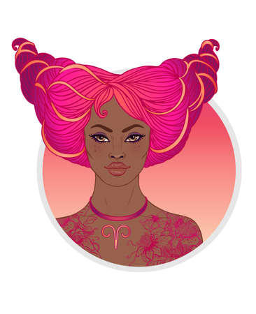 Illustration of Aries astrological sign as a beautiful African American girl. Zodiac vector illustration isolated on white. Future telling, horoscope, alchemy, spirituality, fashion black woman.