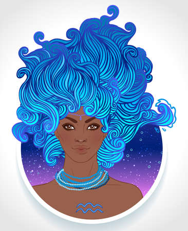 Illustration of Aquarius astrological sign as a beautiful African American girl. Zodiac vector illustration isolated on white. Future telling, horoscope, alchemy, spirituality, fashion black woman. Illustration
