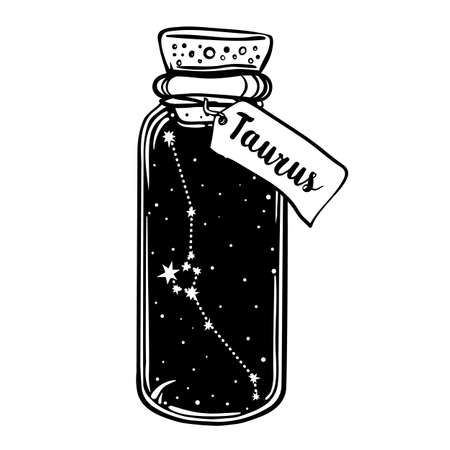 Glass Bottle with zodiac Taurus constellation inside. Vector ink illustration. Doodle style sketch, Black and white drawing isolated. Design for coloring book page for adults and kids. Ilustracja
