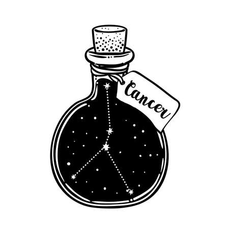 Glass Bottle with zodiac Cancer constellation inside. Vector ink illustration. Doodle style sketch, Black and white drawing isolated. Design for coloring book page for adults and kids. Ilustracja