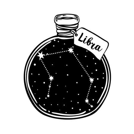 Glass Bottle with zodiac Libra constellation inside. Vector ink illustration. Doodle style sketch, Black and white drawing isolated. Design for coloring book page for adults and kids.