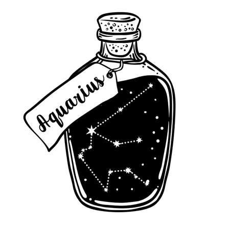 Glass Bottle with zodiac Aquarius constellation inside. Vector ink illustration. Doodle style sketch, Black and white drawing isolated. Design for coloring book page for adults and kids. Ilustracja