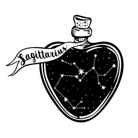 Glass Bottle with zodiac Sagittarius constellation inside. Vector ink illustration. Doodle style sketch, Black and white drawing isolated. Design for coloring book page for adults and kids.