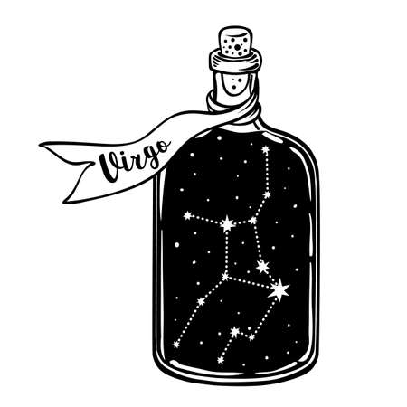 Glass Bottle with zodiac Virgo constellation inside. Vector ink illustration. Doodle style sketch, Black and white drawing isolated. Design for coloring book page for adults and kids.