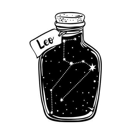 Glass Bottle with zodiac Leo constellation inside. Vector ink illustration. Doodle style sketch, Black and white drawing isolated. Design for coloring book page for adults and kids.