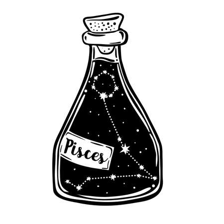 Glass Bottle with zodiac Pisces constellation inside. Vector ink illustration. Doodle style sketch, Black and white drawing isolated. Design for coloring book page for adults and kids.