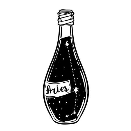 Glass Bottle with zodiac Aries constellation inside. Vector ink illustration. Doodle style sketch, Black and white drawing isolated. Design for coloring book page for adults and kids. Ilustracja