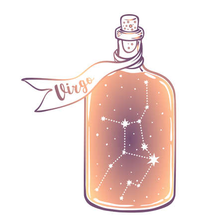 Glass Bottle with zodiac Virgo constellation inside. Vector ink illustration. Doodle style sketch, Color gradient drawing isolated on white.