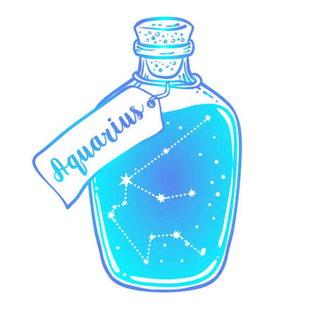 Glass Bottle with zodiac Aquarius constellation inside. Vector ink illustration. Doodle style sketch, Color gradient drawing isolated on white. Illustration