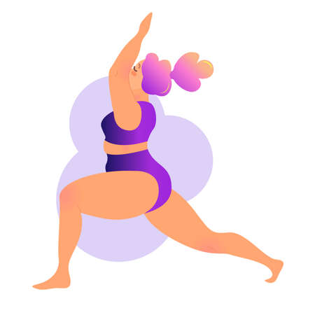 Plus size curvy lady doing yoga class. Vector illustration isolated on white. Online home workout concept. Bodypositive. Attractive overweight woman. Virabhadrasana or warrior pose.