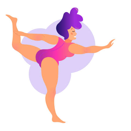 Plus size curvy lady doing yoga class. Vector illustration isolated on white. Online home workout concept. Bodypositive. Attractive overweight woman. Natarajasana or Lord of the Dance Pose 向量圖像