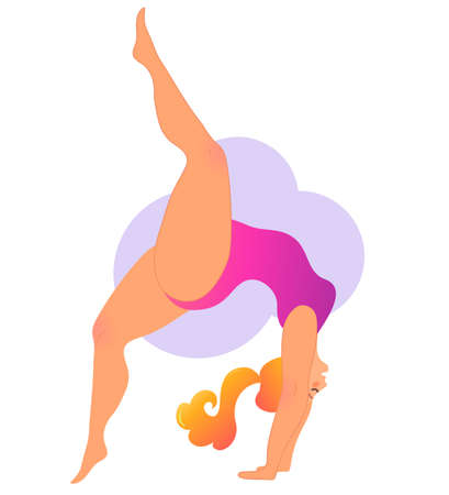 Plus size curvy lady doing yoga class. Vector illustration isolated on white. Online home workout concept. Body positive. Attractive overweight woman. Urdhva Dhanurasana, Upward Bow or Wheel Pose. 向量圖像