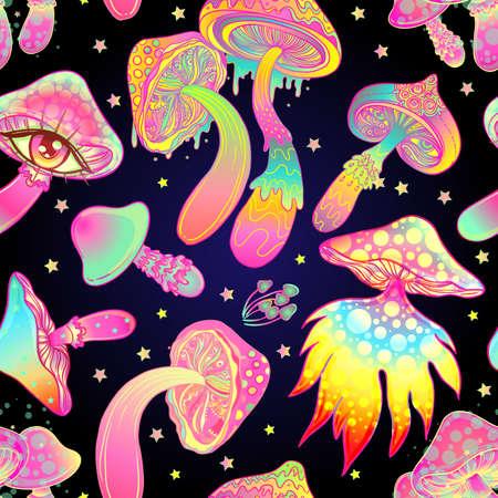 Magic mushrooms. Psychedelic hallucination. Vibrant vector illustration. 60s hippie colorful background, hippie and boho texture. Ttrippy wallpaper. Ilustração