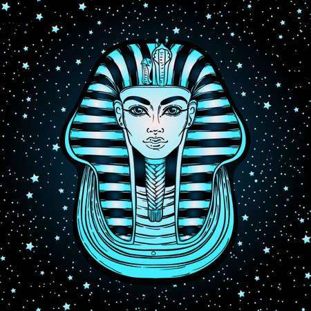 King Tutankhamun mask, ancient Egyptian pharaoh. Hand-drawn vintage outline illustration. Tattoo flash, t-shirt or poster design, postcard, coloring book page. Egypt history.