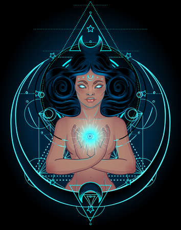 African American magic woman holding all seeing eye with rays. Mysterious black girl over sacred geometry symbols and wings. Alchemy, religion, spirituality, occultism, tattoo art
