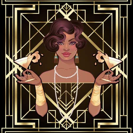 Retro fashion: glamour girl of twenties (African American woman). Vector illustration. Flapper 20s style. Vintage party invitation design template. Fancy black lady. Ilustración de vector