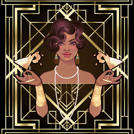 Retro fashion: glamour girl of twenties (African American woman). Vector illustration. Flapper 20s style. Vintage party invitation design template. Fancy black lady. Vettoriali