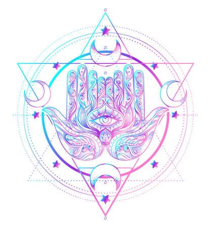 Sacred Geometry and Boo symbol set. Ayurveda sign of harmony and balance. Tattoo design, yoga logo. poster, t-shirt textile. Colorful rainbow gradient over black. Illusztráció