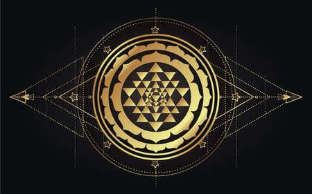 Moon magic. Triple moon pagan Wicca moon goddess symbol. Three-faced Goddess. Maiden, Mother, Crone vector illustration. Tattoo, astrology, alchemy, boho and magic symbol golden over black.