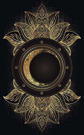 Moon magic. Triple moon pagan Wicca moon goddess symbol. Three-faced Goddess. Maiden, Mother, Crone vector illustration. Tattoo, astrology, alchemy, boho and magic symbol golden over black. Vektorgrafik