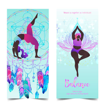 Plus size curvy lady doing yoga class. Yoga card design. Colorful template for spiritual retreat or yoga studio. Ornamental business cards, oriental pattern. Vector