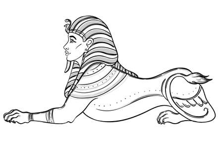 Sphinx, Egyptian mythical creature with head of human, body of lion and wings. Hand-drawn vintage vector outline illustration. Tattoo flash, t-shirt or poster design, postcard. Egypt history.
