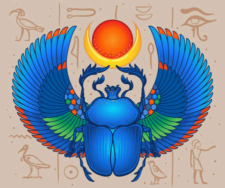 Scarabaeus sacer, Dung beetle. Sacred symbol of in ancient Egypt. Fantasy ornate insects. Isolated vector illustration. Spirituality, occultism, chemistry, occult sun tattoo. Vector Illustration