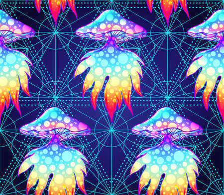 Psychedelic seamless pattern with magic mushrooms over sacred geometry. Vector repeating illustration. Psychedelic concept. Rave party, trance music. Esoteric art.