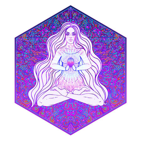 Beautiful Girl sitting in lotus position over ornate colorful neon background. Vector illustration. Psychedelic mushroom composition. Buddhism esoteric motifs. Tattoo, spiritual yoga.