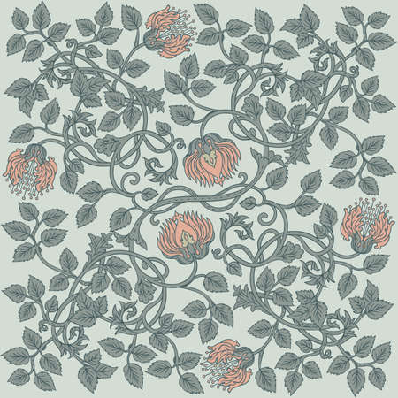 Floral vintage seamless pattern for retro wallpapers. Enchanted Vintage Flowers. Arts and Crafts movement inspired. Design for wrapping paper, wallpaper, fabrics and fashion clothes.