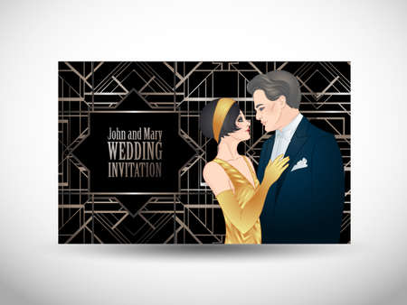 Beautiful couple in art deco style. Retro fashion: glamour man and woman of twenties. Vector illustration. Flapper 20s style. Vintage party or thematic wedding invitation design template.