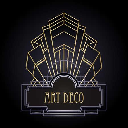 Art Deco vintage gold and silver design element over black. Retro party geometric background set 1920 style. Vector illustration for glamour party, thematic wedding or textile prints. Vektoros illusztráció