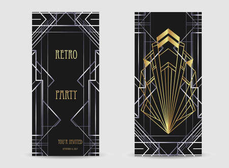 Art Deco vintage gold and silver design element over black. Retro party geometric background set 1920 style. Vector illustration for glamour party, thematic wedding or textile prints.