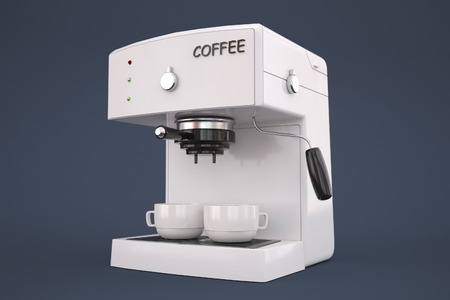 aliments: machine � caf� sur un fond gris avec une tasse de caf�.