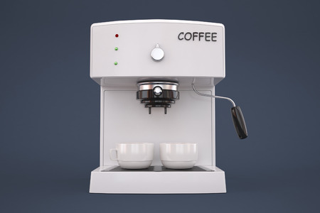 viands: coffee machine on a gray background with a cup of coffee. Stock Photo