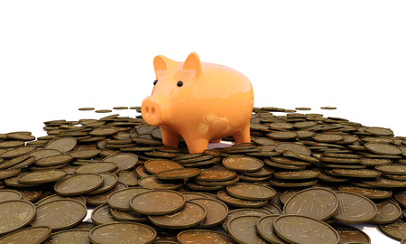 action fund: piggy bank with coins on a white background