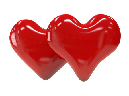shiny heart: Two red shiny heart isolated on white background. Symbol of romance and love.