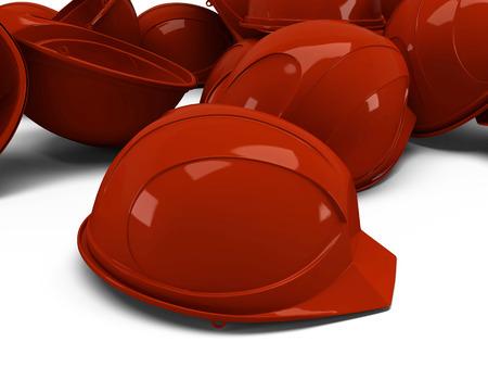 safeguarded: a pile of orange helmets