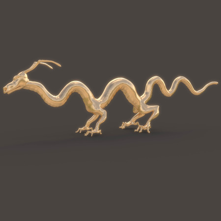 legends folklore: Golden Dragon smooth with unusual feet and slender fingers. In profile. With the glow on a black background
