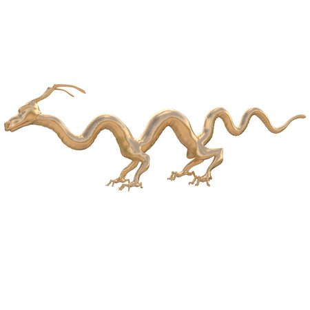 legends folklore: Golden Dragon smooth with unusual feet and slender fingers.Without glow on the white background Stock Photo