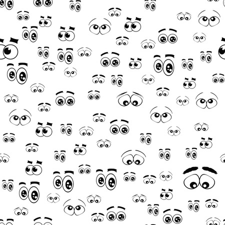 cartoony: many cartoony eye with different characters and expressions on a white background Stock Photo