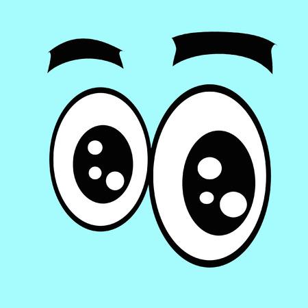 one eye: Cartoon eyes. Surprise. Illumination. Many highlights. One eye larger than the other. Stock Photo