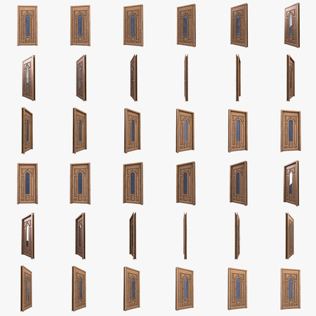 iron bars: Wooden door with glass pane and iron bars. Template for animation.3d