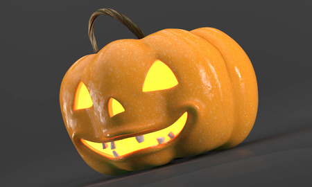 Spooky pumpkin with bright and terrible human teeth. Template cards Halloween with scary pumpkin on a black background.3d.