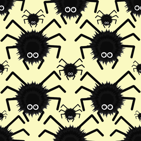 Seamless texture with funny cartoon spiders. Children's print. Pattern for Halloween. Stockfoto