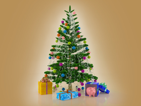 Christmas card template. Decorated with multicolored balls and toys pigs Christmas tree with gifts and piggy bank on the brown  background. 3d rendering.