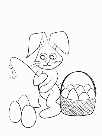 Easter Coloring. Black And White Raster Illustration For Coloring ...